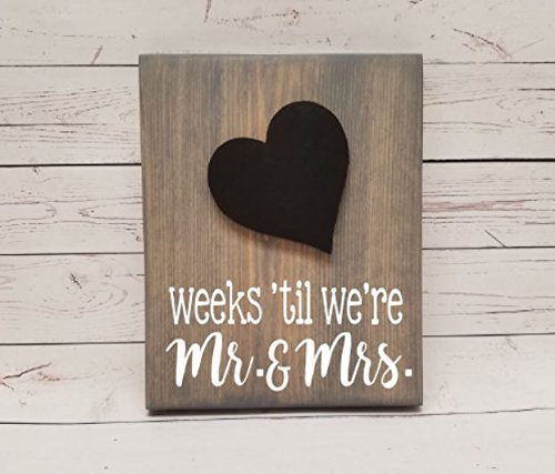Wedding Countdown Chalkboard Tracker, reusable calendar for marriage, photo clip to hold picture of the happy (Couples To Be For Halloween)