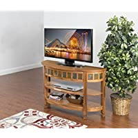 Sunny Designs Sedona Curved Entry Console Table in Rustic Oak