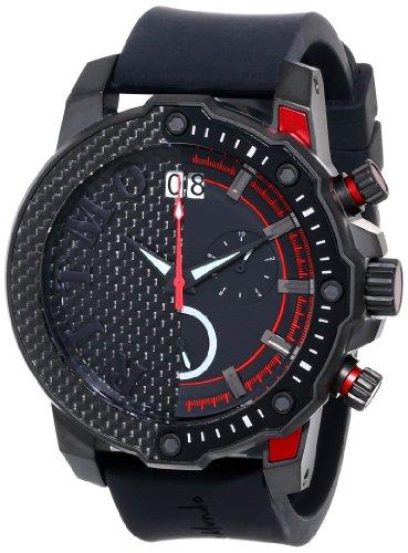 Ritmo Mundo Unisex 1201/4 Red Quantum Sport Quartz Chronograph Carbon Fiber and Aluminum Accents Watch Carbon Fiber Chronograph Watch