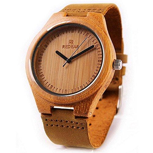 Shangdongpu Women Bamboo Wooden Watch with Genuine Leather band and Japan Quartz Movement, Fashion design