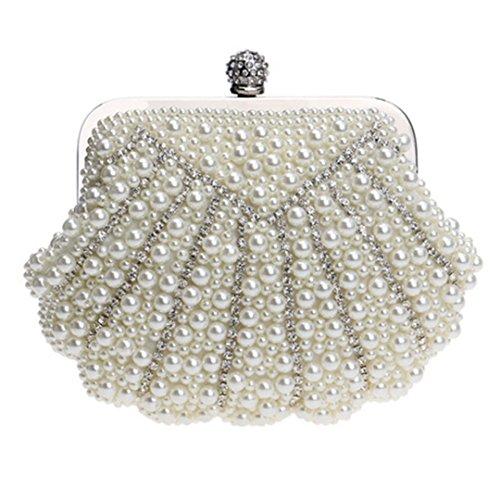 Shell-Shaped Handmade Luxury Wedding Handbags Beaded Rhinestone Wallet Evening Bag YM1112Pearl White Mini
