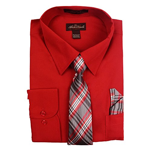 - Alberto Danelli Men's Slim FIT Long Sleeve Dress Shirt Set with Matching Tie and Handkerchie Set, Scarlet Red, Large 16 34/35