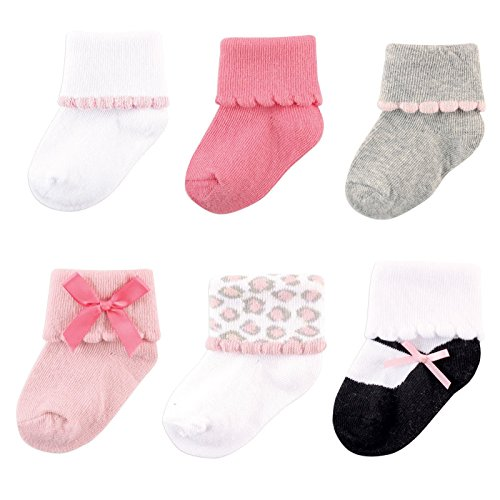 Luvable Friends Baby 6 Pair Dressy Cuff Socks, Pink/Gray, 6-12 Months