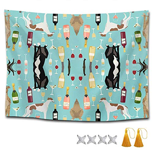 Greyhound Tapestry - YGUII Tapestry Mandala Tapestry Wall Hanging Tapestries Wall Tapestry Greyhounds and Wine Wall Blanket Wall Decor Wall Art Home Decor Collage Dorm Decoration 150150cm(60