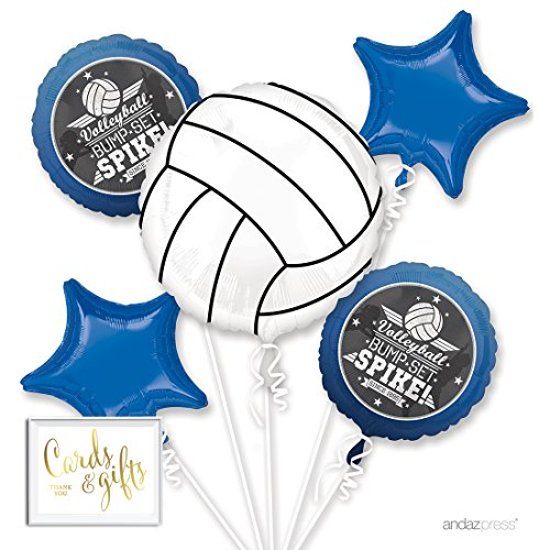 Andaz Press Balloon Bouquet Party Kit with Gold Cards & Gifts Sign, Volleyball Sports Party Foil Mylar Balloon Decorations, 1-Set ()