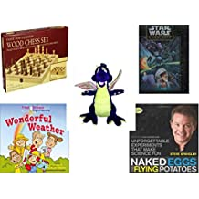 """Children's Gift Bundle - Ages 6-12 [5 Piece] - Classic Wood Folding Chess Set Game - Star Wars A New Hope 550 Piece Fully Interlocking Puzzle - Toy Works Purple Dragon Plush 20"""" - First Science Expe"""