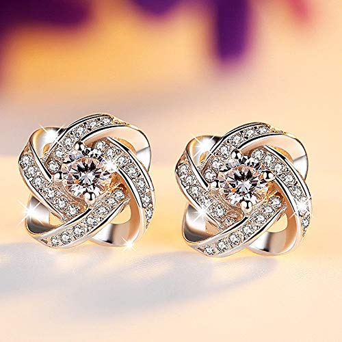Nitlovely 925 Silver Round Cut White Sapphire & Amethyst Lucky Clover Cross Stud Earrings