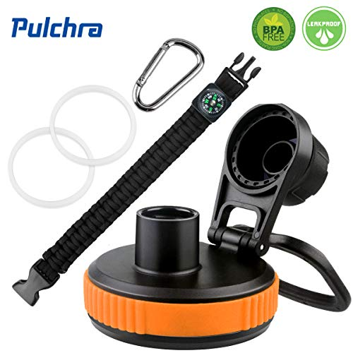 Pulchra Lid/Cap BPA Free for Wide Mouth Water Bottles, Spiral Drinking Mouth Cover with 1 Paracord Handle, 2 Replacement Gaskets, 1 Carabiner, Wide Mouth Bottle Universal Replacement Lid (Orange)