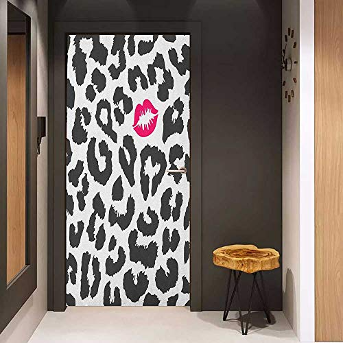 Onefzc Sticker for Door Decoration Safari Leopard Cheetah Animal Print with Kiss Shape Lipstick Mark Dotted Trend Art Door Mural Free Sticker W17.1 x H78.7 Charcoal Grey Pink