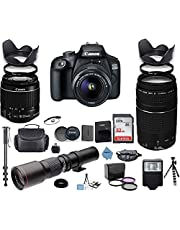 $699 » Canon EOS 4000D DSLR Camera with 18-55mm is II Lens Bundle + Canon EF 75-300mm f/4-5.6 III Lens and 500mm Preset Lens + 32GB Memory + Filters + Monopod + Professional Bundle + Inspire Digital Cloth