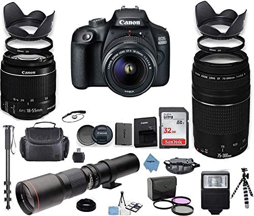 Canon EOS 4000D DSLR Camera with 18-55mm is II Lens Bundle + Canon EF 75-300mm f/4-5.6 III Lens and 500mm Preset Lens + 32GB Memory + Filters + Monopod + Professional Bundle + Inspire Digital Cloth