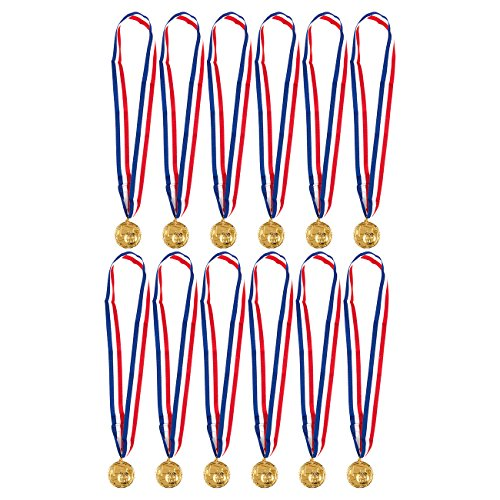 (Juvale Gold Medals for Soccer Game - 12-Pack Metal Medals - Winner Awards for Kids Soccer, Football, Foosball, Sport Games, 2 Inches in Diameter with 31-Inch Ribbon, Gold, Metal )