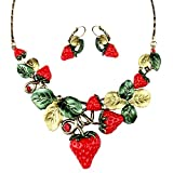 QTMY Strawberry leaves earrings Necklace Set Jewelry choker collar pendant gift for women girl