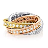 Luxury Bazaar Cartier Trinity de Cartier 18K White, Yellow and Rose Gold Full Diamond Rolling Band Ring