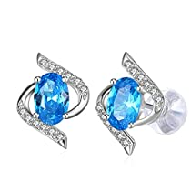 Earrings, 925 Sterling Silver Blue Cubic Zirconia Stud Earrings J.Rosée Fine Jewelry for Women Mothers Day Gift The Eye of Lover, Best Gift for Mom Wife Girlfriend with ExquisitePackage