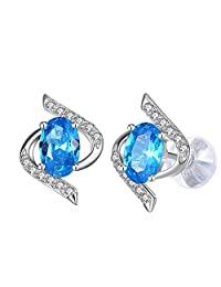 "Earrings, 925 Sterling Silver Blue Cubic Zirconia Stud Earrings J.Rosée Fine Jewelry for Women Mother's Day Gift ""The Eye of Lover"", Best Gift for Mom Wife Girlfriend with Exquisite Package"