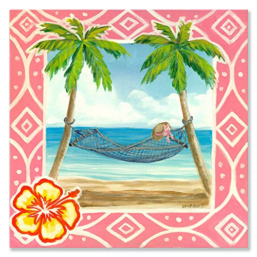 Oopsy Daisy Fine Art for Kids Island Retreat Stretched Canvas Art by Colleen Phelon Hall, 18 by 18-Inch