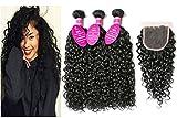 virgin brazilian hair 3 bundles - Brazilian Virgin Hair 3 Bundles with Closure Water Wave Hair Bundles with 4x4 Free Part Closure Unprocessed Virgin Human Hair (12 14 16 with 10, Natural Color)