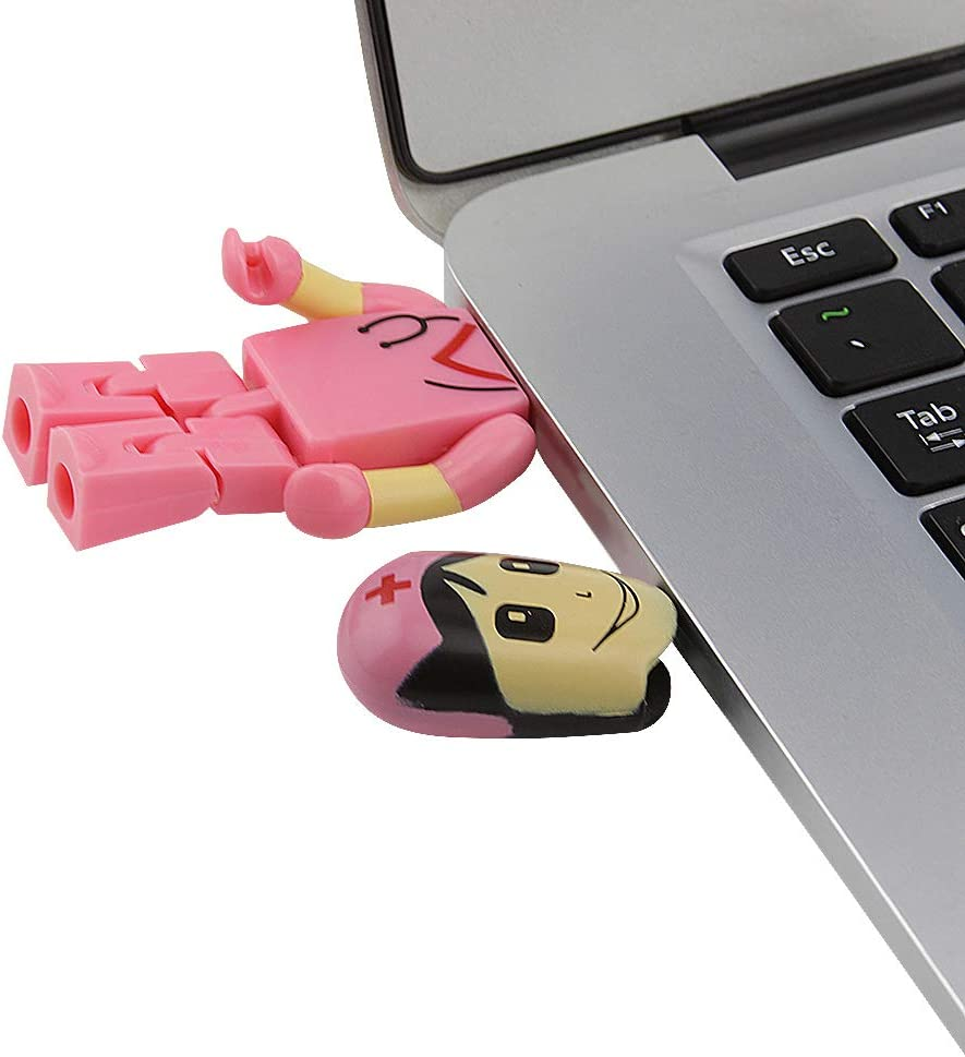 Pink 16GB USB 2.0 Flash Drive Female Nurse Doctor Robot Shape Pen Drive Novelty Thumb Drive Memory Stick Pendrive U Disk