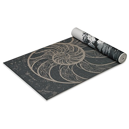Gaiam Premium Print Reversible Yoga Mat, Spiral Motion, 5/6mm