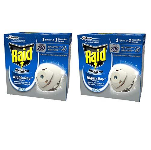 🥇 Raid – Night & Day – Anti-mosquitos Eléctrico  – Aparato + Recambio – [Pack de 2]