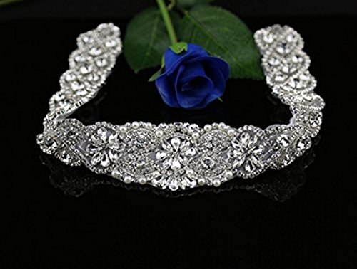 (SoarDream Rhinestone Applique Pearl and Crystal Belt DIY Bridal Dress Belt)