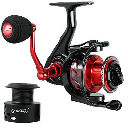 Sougayilang Spinning Reels Fishing Reel with 13 +1 MaxiDur Corrosion Resistant Ball Bearings, X-Ship Gearing, Silent Drive, SVS Braking System and Free Spare Graphite Spool for Anglers