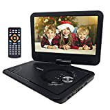 """YENOCK Portable DVD Player with 10.1"""" 1024×600 High Resolution Swivel Screen, Full Format"""