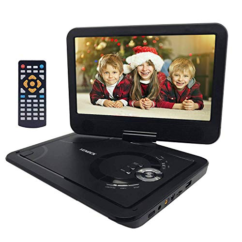 """YENOCK Portable DVD Player with 10.1"""" 1024×600 High Resolution Swivel Screen, Full Format CD Player Supports SD Card/USB/CD/DVD with Car Headrest Holder, Rechargeable Battery Car & Wall Charger"""