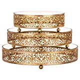 3-Piece Round Mirror-Top Cake Stand Risers Dessert Tray Set (Gold)