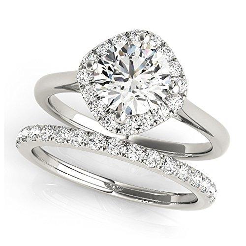 14K White Gold Unique Wedding Diamond Bridal Set Style MT50983