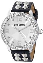 Steve Madden Women's SMW00010-04 Black Silver Cone Stud Strap Watch