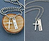 Men's Cross Necklace - DII ABC - Boys Confirmation Gift - Baptism Gift - Handstamped Handmade - 1 x...