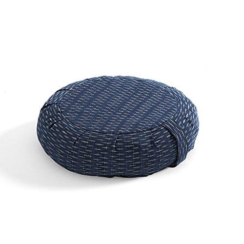 DharmaCrafts Buckwheat Zafu Round Meditation Yoga Cushion (Ikat Lines)