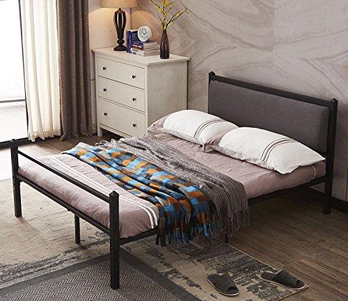 Comfy Modern Platform Bed - GreenForest Bed Frame Queen Size with Fabric Hearboard,Upholstered Platform Bed Frame Strong Metal Slat Support Mattress Foundation,Dark Grey