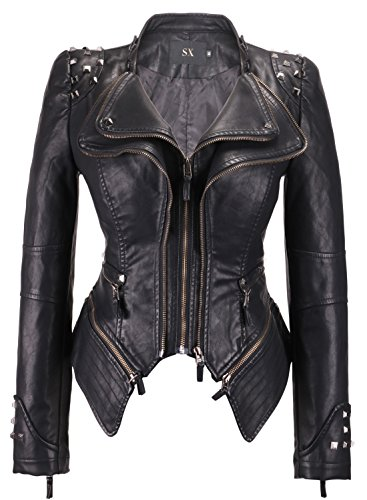 Chouyatou Women's Fashion Studded Perfectly Shaping Faux Leather Biker Jacket (Large, Black) Black Rivet Leather Jacket