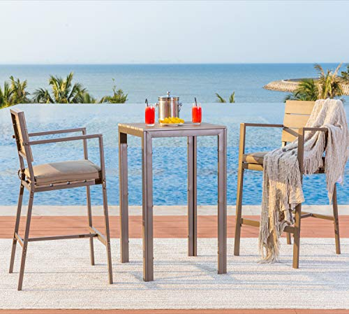 Solaura Outdoor Bar Height 3-Piece Bistro Set Steel Powder Coated Frame Neutral Beige Cushions & Coffee Table
