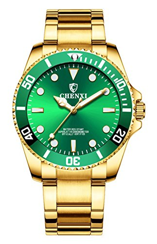 Mini Solid Gold Watch - Business Sport Luxury Calendar Waterproof Fashion Luminous Stainless Steel Strap Men Dress Quartz Watch (Gold Green)