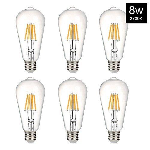 B2ocled 8W(60W Equivalent) LED Edison Bulb ST64 Style Vintage Filament Light Bulbs, Warm White 2700K, E26 E27 Medium Base Lamp for Restaurant,Home,Reading Room,Office, Wall Lamp(6 Pack)