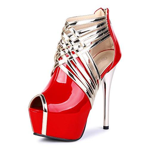 OCHENTA Zapatillas de Moda Atractiva Sandalias Cabeza de Pescado Mujer PU Rojo
