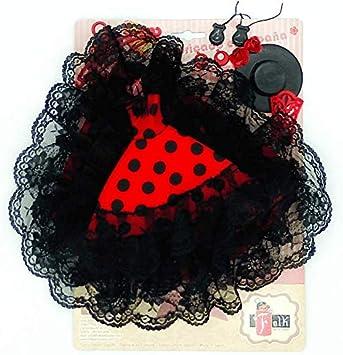 Amazon.es: Folk Artesanía Vestido Cola andaluza Flamenca, Pendientes, castañuelas, peinetas, Percha y Sombrero para Barbie. Fabricado en España (Rojo Lunar Negro): Juguetes y juegos