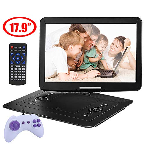 YOOHOO 17.9'' Large Portable DVD/CD Player with 15.6'' 270°Swivel High Definition LCD Screen,6 Hours Rechargeable Battery,Support CD/DVD/SD - Player Dvd Lcd Screen