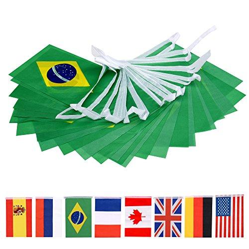 66 Feet Brazil String Flag,60Pcs National Country World Flags Banner String