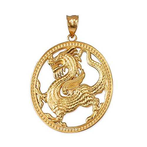 Dragon Yellow Pendant - LA BLINGZ 10K Yellow Gold Chinese Dragon Oval Medallion Pendant Necklace (Pendant Only)