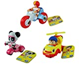 DreamWorks Noddy Toyland Detective - Set of All 3 Vehicles - Noddy Revs Helicopter Car, Deltoid Trike and Pat-Pat Scooter