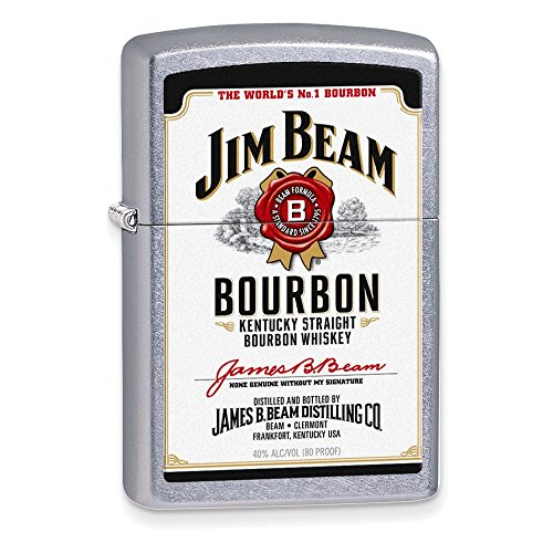 (Zippo Jim Beam White Label Street Chrome Lighter)