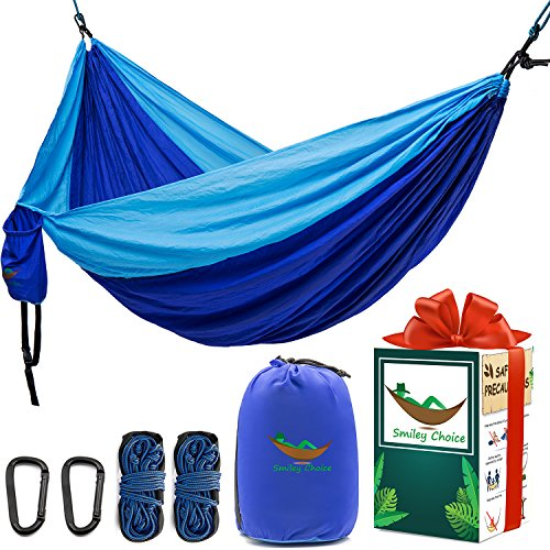 Cakie Double Camping Hammock- with 2 Longer Ropes 15ft, Unique Gift Box, Tree Straps. Portable Lightweight Heavy Duty Parachute Nylon Hammocks for Yard Backpacking Travel Beach Patio, Support 600lb