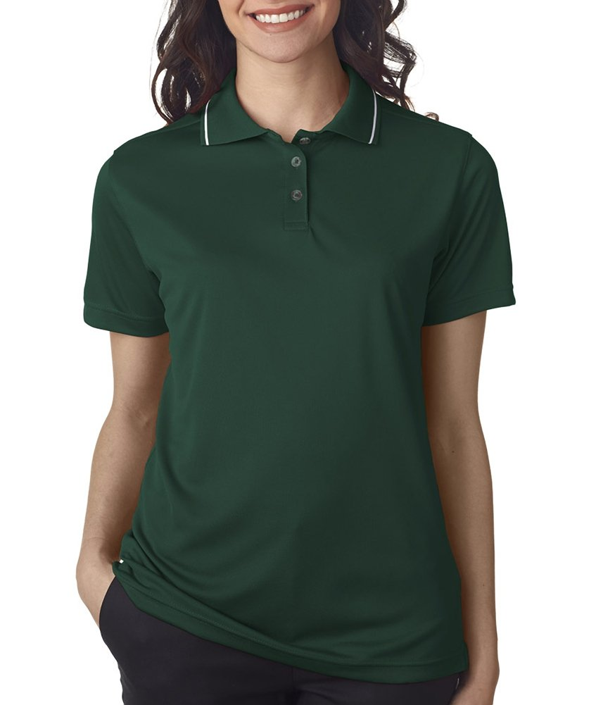 Ultraclub Ladies Polo with Tipped Collar 8394L -Forest/ Whit 2XL
