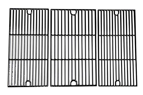 "Hongso 17 5/8"" Porcelain Coated Cast Iron Cooking Grid Grates Replacement for Brinkmann 810-2545-W, 810-1456-S, 810-9425-W, 810-9520-S, 810-8300-W, 810-7231-W Gas Grill, Set of 3 (PCG233)"