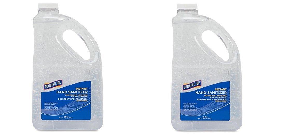 Genuine Joe GJO10452 Moisturizing Hand Gel Sanitizer, 2 qt Pump Bottle, Clear (2-PACK)